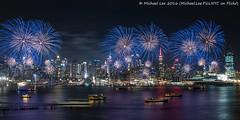 Lunar New Year Fireworks (P2060145) (Michael.Lee.Pics.NYC) Tags: longexposure newyork night newjersey cityscape fireworks olympus chinesenewyear newyear lunarnewyear mkii weehawken markii 2016 midtownmanhattan hamiltonpark em5 voigtlandernokton175mm