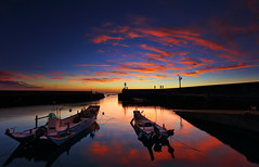 My Fancy Sunset (TerryChen - Blooming Beauty ) Tags: sunset sky cloud reflection silhouette boat dock