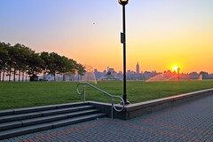 View From Pier A Hoboken NJ (pmarella) Tags: trees lamp fog sunrise haze manhattan pmarella hudsonriver empirestatebuilding hoboken piera onthewaterfront riverviewpkproductions icoverthewaterfront