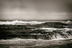 Rock Platform (SubSeaSniper) Tags: sea sky storm cold water monochrome moody harbour stormy windswept inlet wintery canon100mmlens canoneos7d