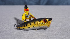 Redman has caught a fish to share with his village. (micro.burst) Tags: home lego redman minifigures fishinglure olympusviewer3 olympusem10