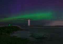 Northern Lights New Brighton Lighthouse (gmorriswk) Tags: seascape night landscape aurora northernlights wirral newbrighton rivermersey newbrightonlighthouse