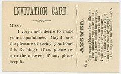 Invitation CardI Very Much Desire To Make Your Acquaintance (Alan Mays) Tags: old men vintage paper cards typography women funny humorous poetry antique humor ephemera type poems choices fonts questions printed borders bold acceptance typefaces answers alternatives refusal parodies motives rhymes acquaintances callingcards invitationcards escortcards visitingcards acquaintancecards flirtationcards seeyouhome