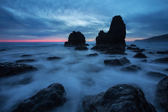 Blue Hour Rodeo (Nirav T.) Tags: ocean california pink blue sunset sea seascape motion beach nature water colors canon landscape movement rocks long exposure pacific tide marin hour headlands rodeo seastack seastacks 6d nirav thakor