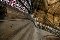 Worcester Cathedral - Looking upwards in the Transcept (Heaven`s Gate (John)) Tags: england art glass up architecture looking cathedral interior religion gothic perspective ceiling stained nave vault worcester worcestercathedral johndalkin heavensgatejohn