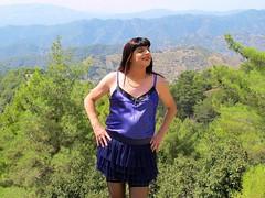 Take your pick (Paula Satijn) Tags: mountains hot sexy girl sunshine outside view purple silk cyprus skirt tgirl transvestite satin miniskirt gurl