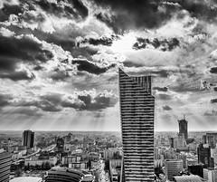 Warsaw Skyline (Indiana Jules!) Tags: bw white black skyline clouds skyscraper buildings blackwhite himmel wolken struktur polen architektur warsaw sonne kontrast gebude horizont sonnenstrahlen hochhaus warschau schwarzweis