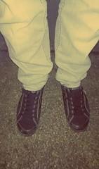 Feet at Night: No.14 (WatermelonHenry) Tags: black feet garden pumps skateboarding pair trainers pointofview skate skateboard paving pairs macbeth blackpumps candidfeet feetatnight macbethtrainers
