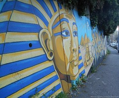 pharaoh happens (masan.orona) Tags: street morning blue plants rome roma art yellow gold lights grafitti arte outdoor egypt azure sunny murales colori egitto grafica trullo portuense colorsinourworld coloursofourworld masanorona pharaohhappens