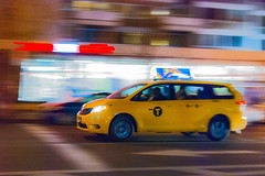 fast delivery (Reflexionist) Tags: auto nyc light ny newyork car night race speed t lights manhattan taxi fast driver luci notte luce velocit corsa notturno veloce autista taxicompany compagniaditaxi
