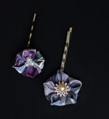 Purple Star flowers. Tsumami Kanzashi. (Bright Wish Kanzashi) Tags: original flower handmade clip hairpin kanzashi tsumamizaiku