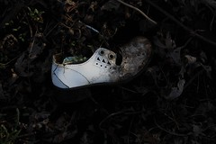 Creepy little thing (Brandi Bonde) Tags: wood abandoned broken barn vintage lost shoe decay creepy clothes loneshoe childshoe singleshoe