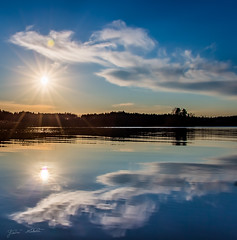 Reflection (Jani Mkel) Tags: blue light sunset sky cloud sun sunlight lake reflection nature weather canon finland landscape photography eos mirror photo skies photographer shine view bright weekend saturday calm shore hdr lightroom canonphotography 700d