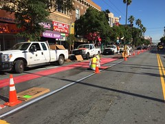 Redding Mission (eviloars) Tags: street red bus lines bike san francisco district muni mission lanes