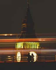 Big Ben, Waterloo Bridge (millerartwork) Tags: people clock silhouette bigben lightstreaks redbus mu9a8999lnd1 waterloobridgehousesofparliamentlukemillerphotolondonriverthameslightstreaks