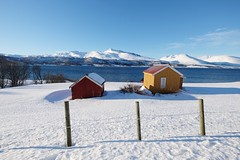 In the middle of nowhere (seyhan.ahen) Tags: winter wild house mountains norway landscape cabin view redhouse lonely wilderness tromso manzara winterphotos winterphotography wintercapture