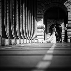 Moment (Mister Blur) Tags: new wedding blackandwhite paris start square groom bride nikon anniversary low pointofview pont week birhakeim d7100