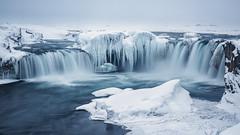 Goafoss - Waterfall of the Gods (silentandy) Tags: longexposure blue cold ice water frozen waterfall iceland freezing gods goafoss