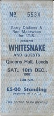 Whitesnake Concert Ticket 18.12.1982 (bebopalieuday) Tags: music 1982 concert leeds ticket rockband whitesnake queenshall davidcoverdale jonlord cozypowell mickymoody colinhodgkinson melgalley