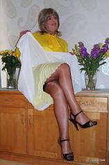 12 Crisscrossed (janegeetgirl2) Tags: white black stockings yellow contrast vintage belt tv high glamour pussy chiffon mini skirt crossdressing full tgirl bow transvestite copper heels slip satin crossdresser ts stilettos fully nylons pleated garters fashioned seams suspender