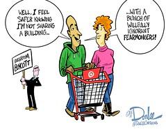 0516 bathroom boycott cartoon (DSL art and photos) Tags: lesbian bathroom transgender hate restroom target boycott gat discrimination editorialcartoon bigotry lgbtq donlee