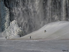 We are so small ... (Jean S..) Tags: winter people white snow ice water waterfall small