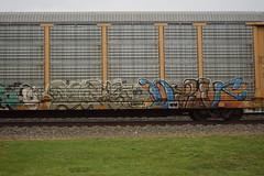 ? ? (TheGraffitiHunters) Tags: auto street blue orange brown white black art car yellow train graffiti colorful paint tracks spray rack carrier freight autorack benched benching