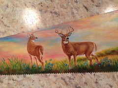 """Doe and Buck painted on handsaw by sherrylpaintz (sherrylpaintz) Tags: original sunset sky nature sunrise painting landscape design waterfall cabin stream acrylic turquoise ooak decorative painted wildlife country doe deer buck crackle whitetail realism realistic art"""" """"one artist"""" """"hand painting"""" """"wall """"wildlife """"folk saw"""" kind"""" """"acrylic sherrylpaintz"""