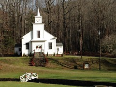 Bear Wallow Baptist Church (Melinda * Young) Tags: christmas white holiday church architecture rural nc postcard country scene historic steeple baptist tradition carpenter brokenpediment