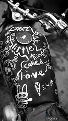 Gabriel's Motorbike (tienchii7) Tags: blackandwhite love monochrome religion christian motorbike oxford photowalk exploration blackboard mortorcycle bhw photowander