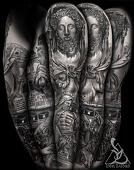 Roman-Statue-Gladiator-Herculese-and-the--Lion-Greek-Mythology-Black-and-Grey-Sleeve-Religious-Catholic-Tattoo-W1