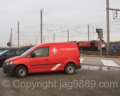 Crossrail Service Vehicle, Port of Zeebrugge, Belgium (jag9889) Tags: city red train europe belgium belgique outdoor brugge belgi transportation be bruges locomotive bel brujas railroadtracks belgien westflanders zeebrugge 2016 brgge railraod lissewege seebrgge jag9889 20160118