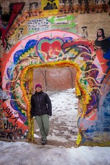 Amanda poses with some street art; Bisbee, AZ.