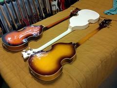 Three Beatle Basses 1bos 1000 (Lox Pix) Tags: lox loxpix guitar collection bass mandolin fender gibson yamaha ibanez rickenbacker vintage beatle violin shape kent sleekline bowhunter trump squier stratocaster telecaster hofner loxwerx l0xpix