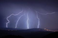 Quatre impacts en Haute-Savoie, lors d'un orage orographique trs lectrique (suarez.christophe) Tags: night lightning 74 nuit orage hautesavoie orages clair foudre clairs