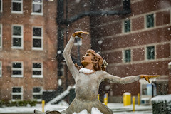Tiny Dancer (AP Imagery) Tags: winter sculpture ballet usa snow girl bronze downtown parkinggarage kentucky ky dancer riverfront owensboro smotherspark artipiece