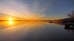 In The Quiet Morning (Jens Haggren) Tags: morning sea sky sun water clouds sunrise reflections landscape colours sweden olympus omd em1 nacka