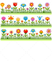 Floral Borders with Abstract Flowers (Flowers & Plants) (hypesol) Tags: summer abstract flower nature floral grass horizontal illustration season print design spring bright background border cartoon decoration meadow row panoramic card tulip decor greeting vector stylized seamless childish headerholiday
