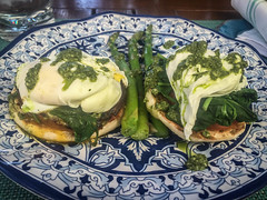 Sinless Eggs Benedict at The Cabana at the Four Seasons - Beverly Hills, CA (ChrisGoldNY) Tags: california food green vegetables cali hotel losangeles yummy forsale meals delicious foodporn socal cabana fourseasons asparagus eggs albumcover plates bookcover dishes westcoast pesto spinach bookcovers albumcovers eater licensing benedict laist englishmuffins hotelchatter chrisgoldny chrisgoldberg chrisgoldphoto