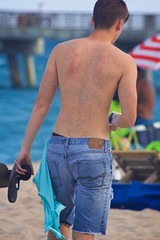 Man in Cut-off jeans (LarryJay99 ) Tags: ocean male beach walking back seaside arms legs personal florida candid sandy atlantic jeans smartphone males dimples shorts shoulders atlanticocean nape unsuspecting cutoffs lakeworth briefline canonef70300mmf456isusm canon60d peekingpits ilobsterit malesmale canonefs60mmf28macrousa llakeworthbeach wagersedge