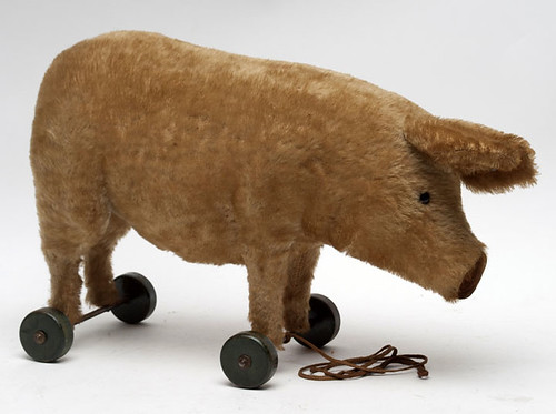 Steiff Pig Pull Toy With Button  $990.00