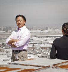 Smog City (ijp01) Tags: california pink woman man black rooftop businessman buildings corporate grey smog losangeles airport rust cityscape view lax overlook businesswoman losangelesinternationalairport