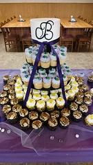 Wedding Cake and Cupcake Tower (tasteoflovebakery) Tags: wedding tower cake lemon purple turtle cupcake delight vanilla