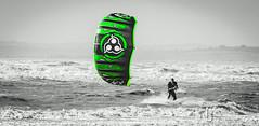 Green Meanie (Nigel Jones LRPS) Tags: sea kite green water surf waves windy rough kitesurf wetsuit camber