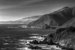 Dramatic PCH (corybeatty) Tags: ocean sunset sea sky bw white black water monochrome beautiful clouds coast highway pacific rocky pch