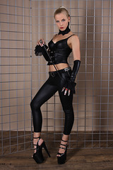 Sandy 28 (The Booted Cat) Tags: woman sexy girl leather high model highheels pants crop blonde whip heels mistress corsage leggins thigt