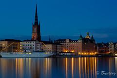 Gamla Stan during the blue hour (stevebfotos) Tags: longexposure night river stockholm gamlastan bluehour hdr riddarfjrden riddarholmchurch