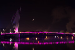 IMG_1594.jpg (SeventyF) Tags: longexposure bridge moon water night manchester fan swingbridge manchestershipcanal cablestaybridge mediacityuk