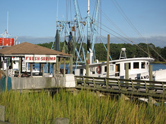 Sunset Beach, NC (rihaje588) Tags: ocean sunset seascape beach pier nc sand marine northcarolina maritime marsh seagrass saltwater shrimpboat