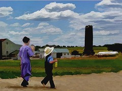 Pennsylvania (skizo39) Tags: school sky hat clouds walking children pennsylvania silo amish barefoot